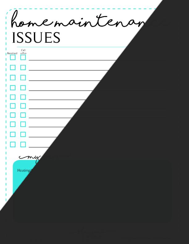 Free Printable Home Maintenance Issues Worksheet
