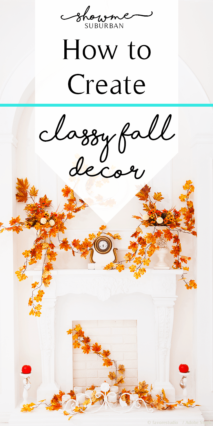 Tired of tacky Halloween decorations?  Check out these tips for creating glamorous, classy fall décor!  Great for Halloween, Thanksgiving, and all through fall.  Ideas for fabric and jeweled pumpkins, fall vignettes, and fall color palettes!