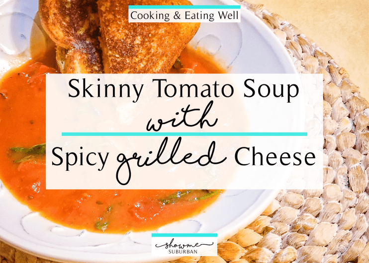 This skinny tomato soup with spicy bacon grilled cheese is the perfect quicky and easy healthy comfort food! Great for lunch or dinner, this light meal for 2 easily doubles or triples to feed a family of 4 or more. #healthyfood #skinnyfood