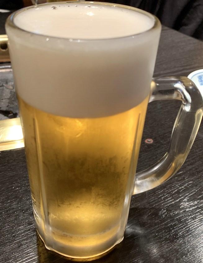 自由が丘の焼肉屋「漢江」のビール