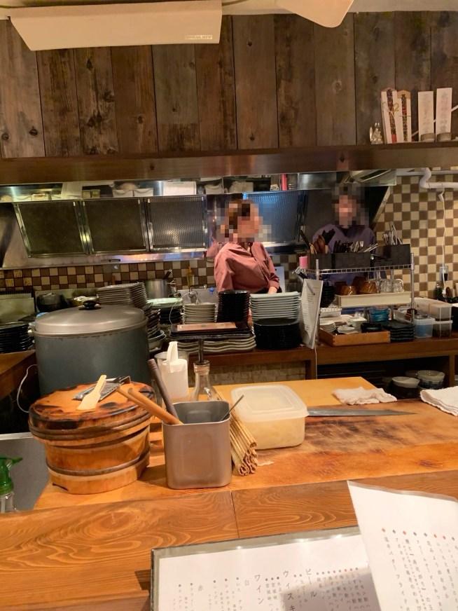 恵比寿にある寿司居酒屋「あげまき」のキッチン