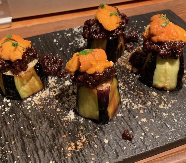 恵比寿にある寿司居酒屋「あげまき」の茄子とウニのグラタン