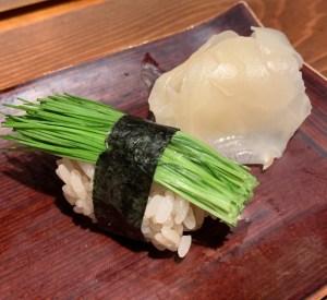 恵比寿にある寿司居酒屋「あげまき」の芽ネギの握り寿司