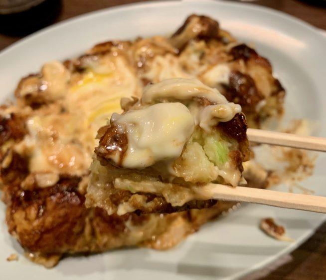 富山「ぼてやん多奈加 」のお好み焼き一口