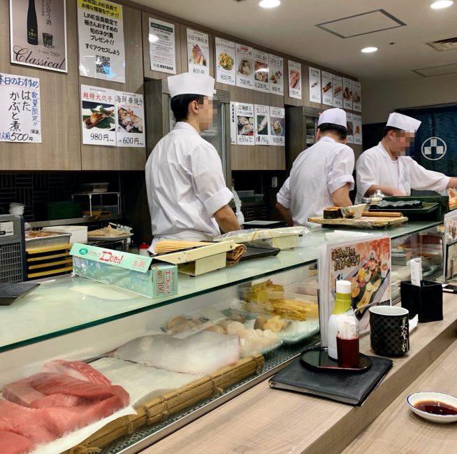 渋谷マークシティ「梅丘寿司の美登利総本店」のカウンター