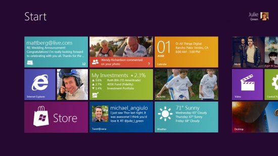 windows 8 tela inicial 550x309 - Vídeo: primeira demonstração do Windows 8