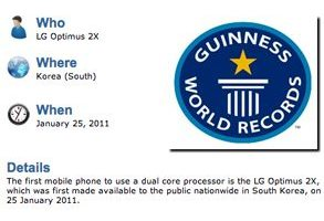 LG Optimus 2X Guinness Book - LG Optimus 2x no Guinness Book