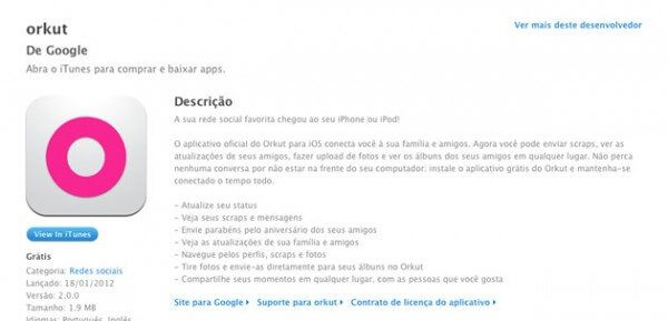 orkut e1326984075223 - Google lança aplicativo oficial do Orkut para iPhone e iPod touch