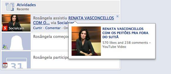 Reprodução Facebook Renata Vasconcellos1 - Socialcam: a pegadinha do Facebook