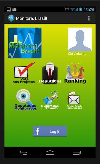 Exemplo de tela do app Monitora, Brasil!