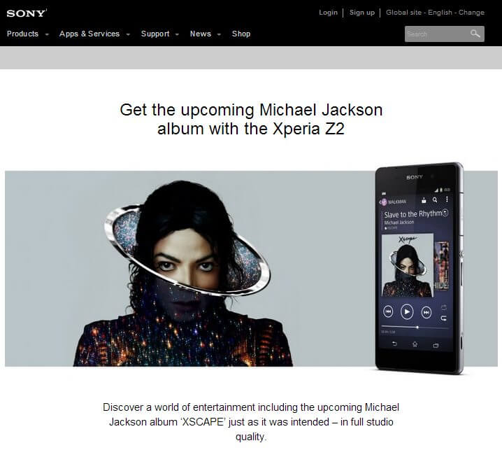 Z2 michael jackson - Sony Xperia Z2 virá com novo álbum de Michael Jackson