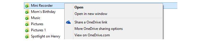 Basta um clique com o botão direito do mouse para compartilhar o link de um arquivo.