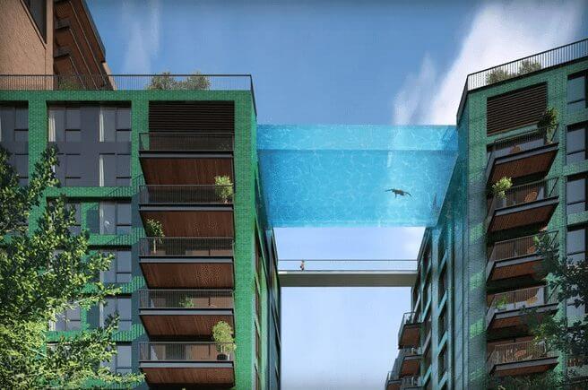 """sky pool london londres - Arquitetos britânicos desenvolvem a primeira """"piscina suspensa"""" do mundo"""