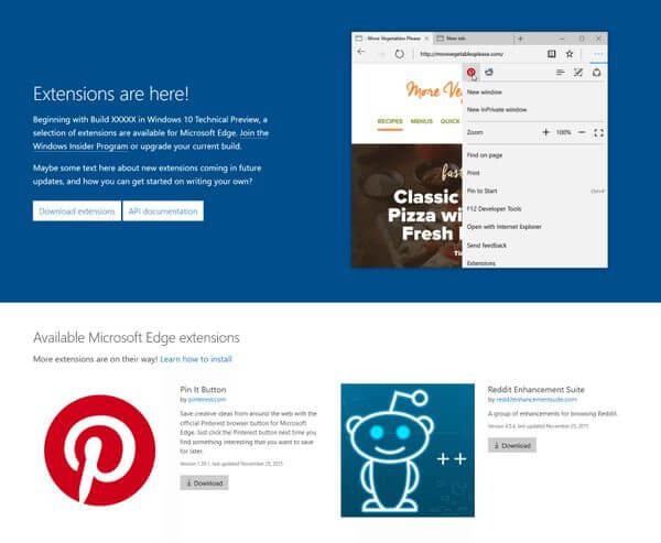 Captura da página oficial sobre extensões do Microsoft Edge, vazado em dezembro