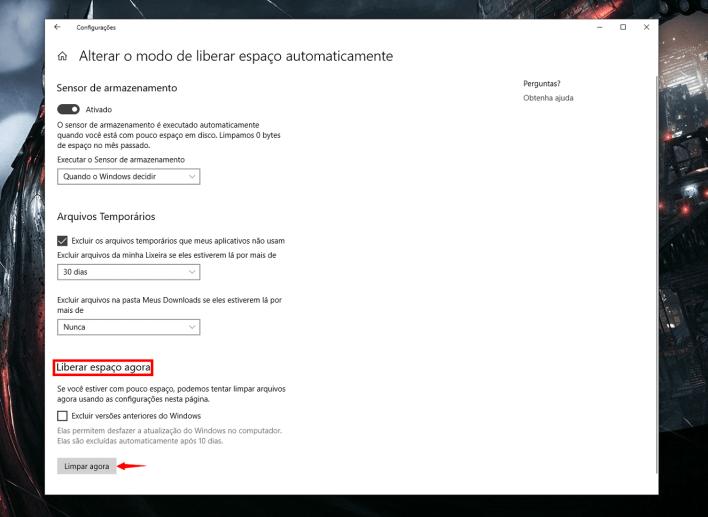 Passo 5 - Como limpar seu disco com a nova ferramenta automática do Windows 10
