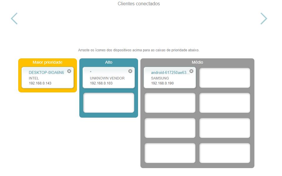 Imagem da interface interna do D-Link AC2600, mostrando a tabela de prioridades do roteador.