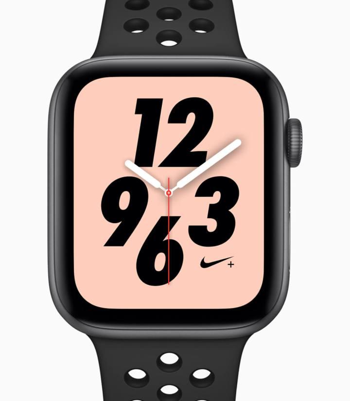 Modelo Nike+ do Apple Watch Series 4. A pulseira e o mostrador são exclusivos dessa versão.