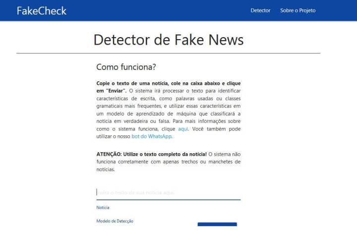 Página do FakeCheck