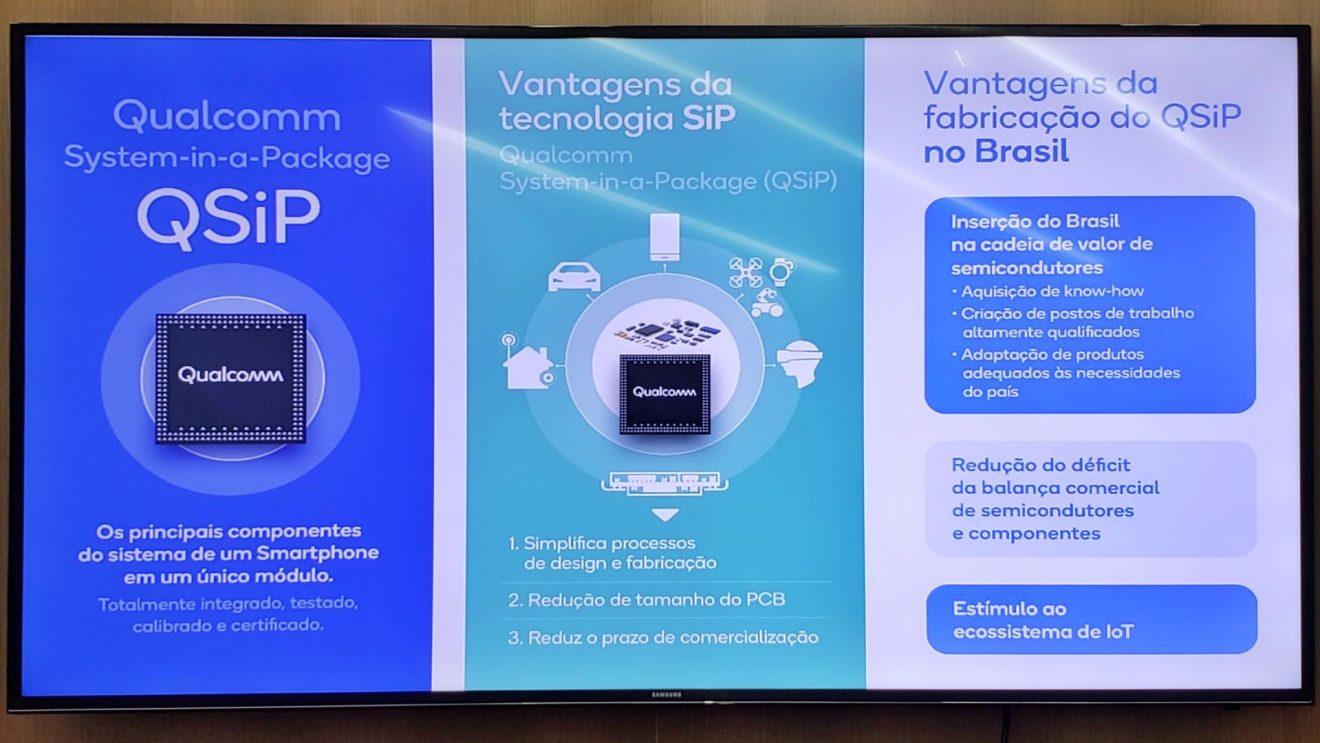 Tela explicativa dos benefícios do QSiP, apresentado pela Qualcomm na Futurecom 2018
