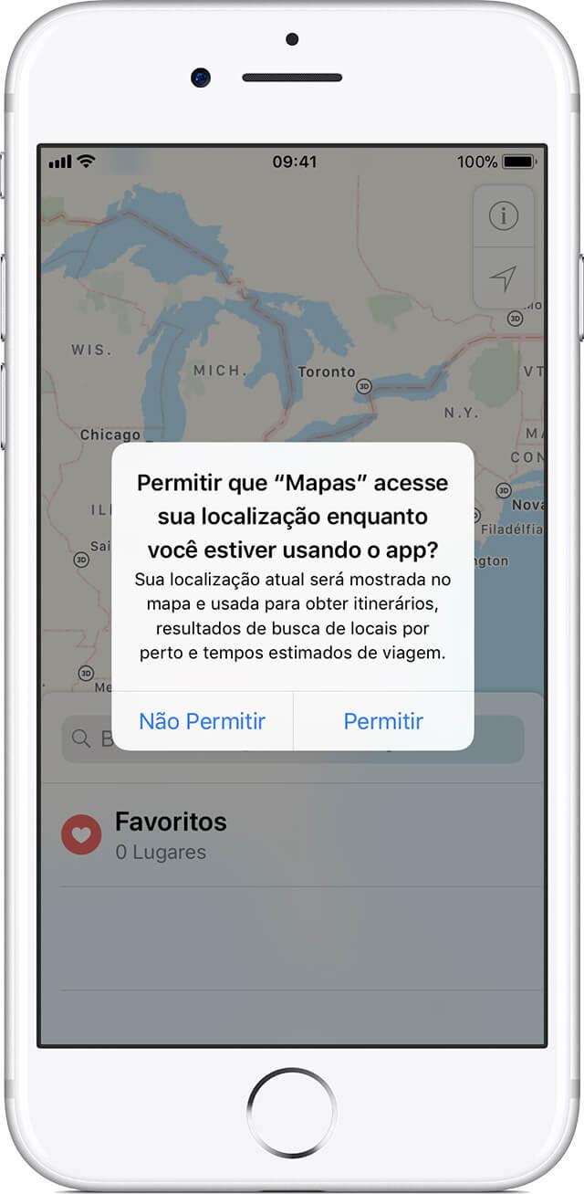 Permissão de acesso à localização enviada pelo Maps