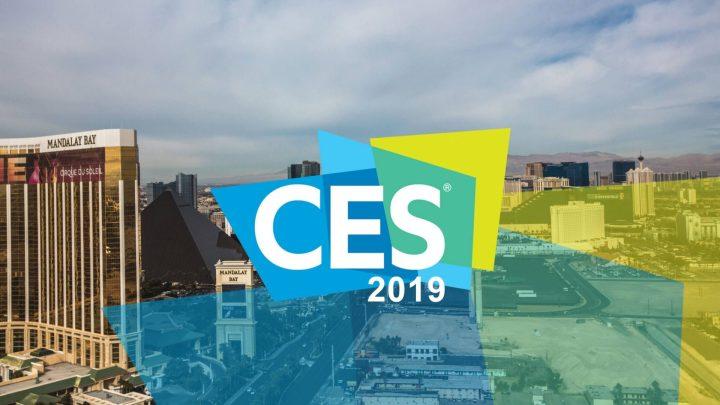 Logomarca da CES 2019 com a cidade de Las Vegas no fundo