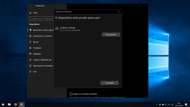 Pronto! Você já pode usar os AirPods com o seu PC Windows 10