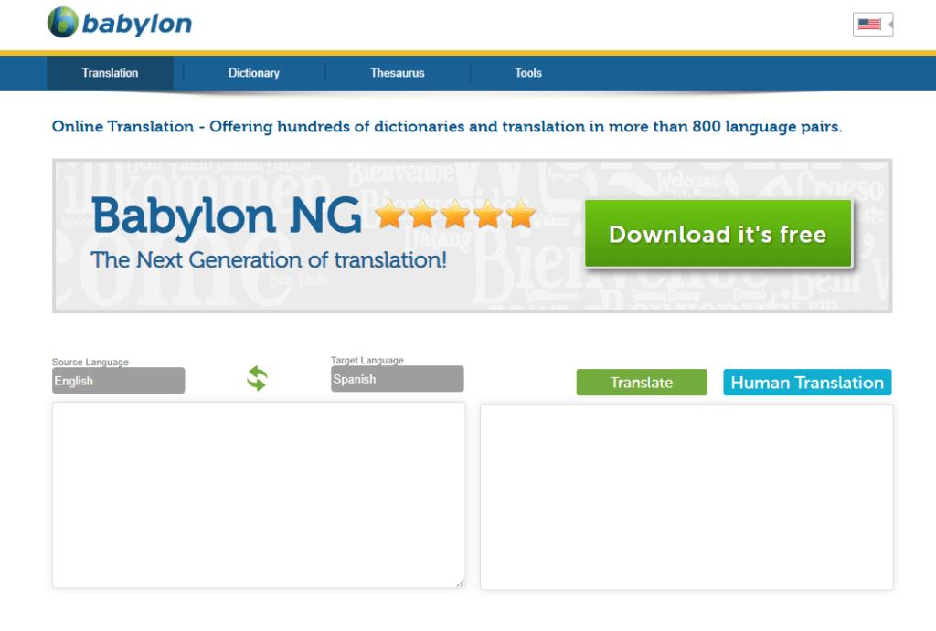 Este site de tradução online também permite baixar o programa e possui versão empresarial
