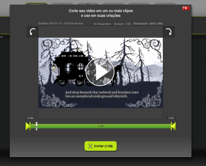 Mostrando a área de corte do editor, onde você posiciona a barra onde quer que o vídeo comece o resto, será cortado