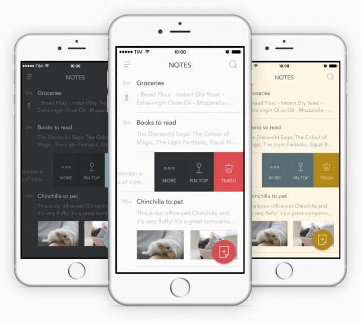 Aplicativo Bear rodando em vários iPhones