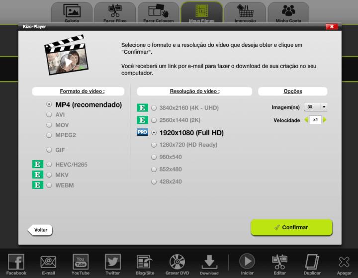Opções de exportação como MP4, AVI e também resolução, como 1080p e até 4K