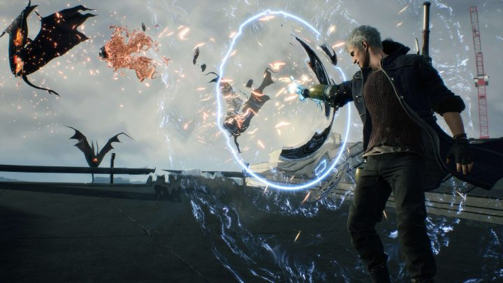 Nero usando mais uma de suas devil breakers no devil may cry 5.