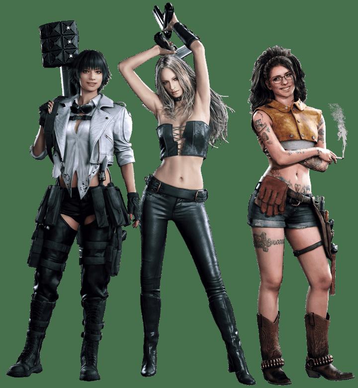 Lady, Trish e Nico, as três mulheres poderosas presentes em Devil May Cry 5.