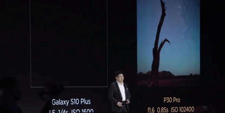 Yu compara a câmera do P30 Pro com a do Galaxy S10 ao fotografar uma noite estrelada