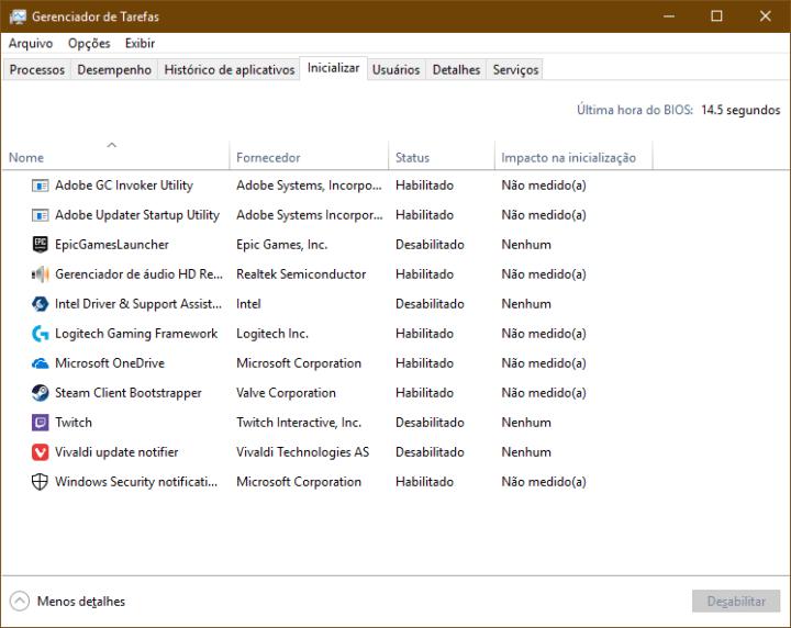 Tela do Gerenciador de Tarefas do Windows 10 na aba Inicializar, exibidos processos iniciados com o sistema