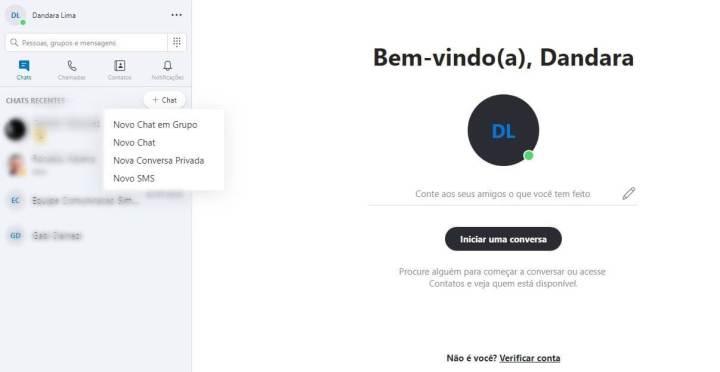 opções de chat do skype web
