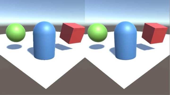 Cálculo de anti-aliasing na Unity 3D, ferramenta de desenvolvimento de jogos. À esquerda, sem, à direita, com.