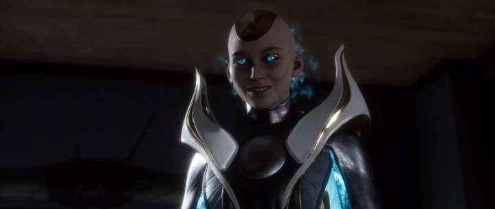 A vilã kronika, em um fundo escuro. Ela tem olhos azuis brilhantes e emana uma aura da mesma cor.