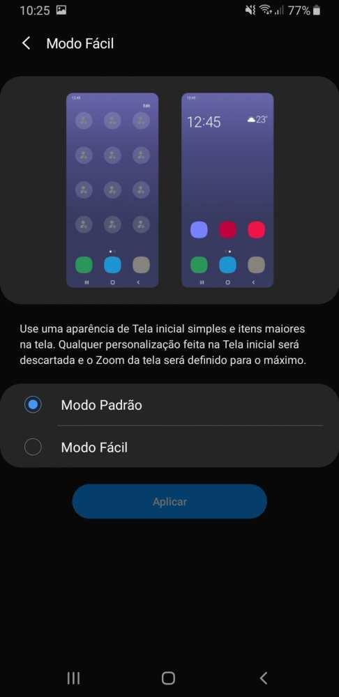Modo de tela fácil do Galaxy A9 2018