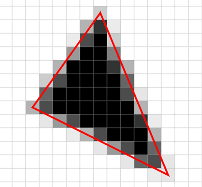 Triângulo em forma de pixels mostrando a dificuldade de figuras e imagens serem renderizadas em dispositivos.
