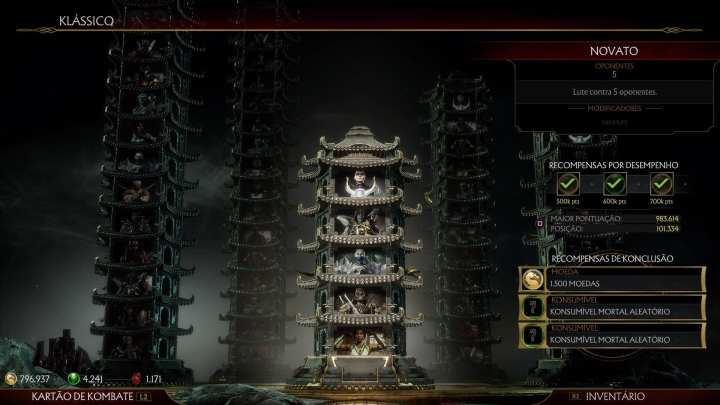 Captura de tela do modo Torres Klássicas, exibindo uma torre com uma série de personagens a serem enfrentados.