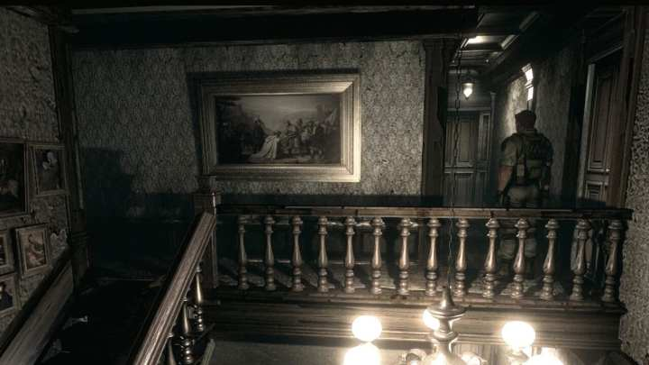 Os cenários de Resident Evil são claustrofóbicos e ajudam a criar a tensão do jogo.