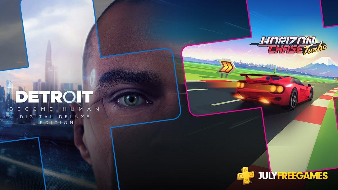 PS Plus de Julho terá Detroit e Horizon Chase Turbo 6