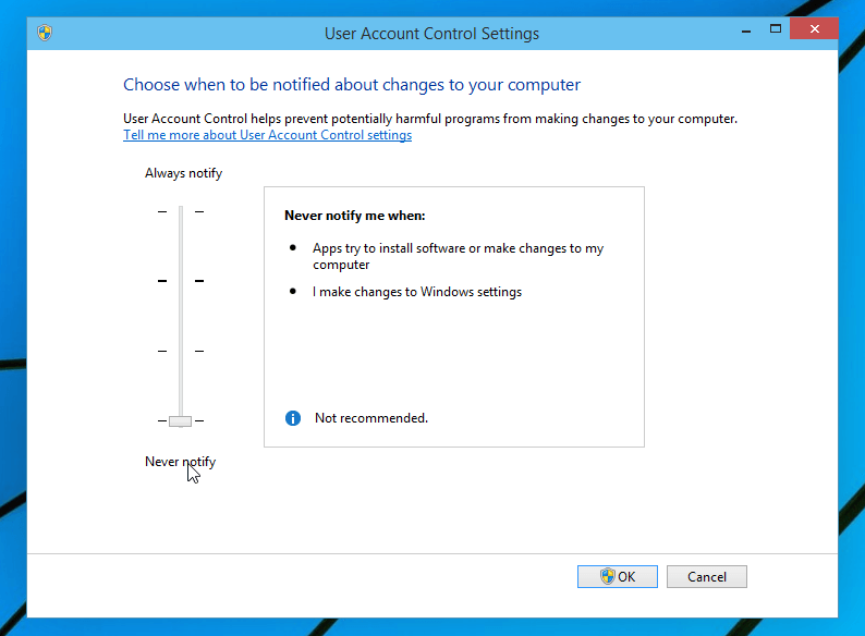 Defina o nível do UAC no Windows