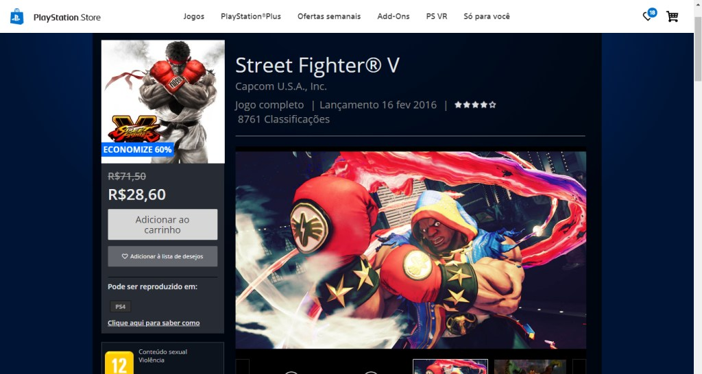 Esta é a página do jogo, capturada antes da vigência da oferta gratuita.