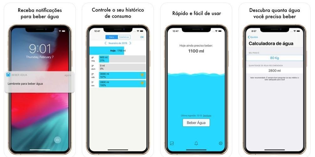 O aplicativo Beber Água ajuda a incentivar e lembrar os usuários a tomar água durante o dia