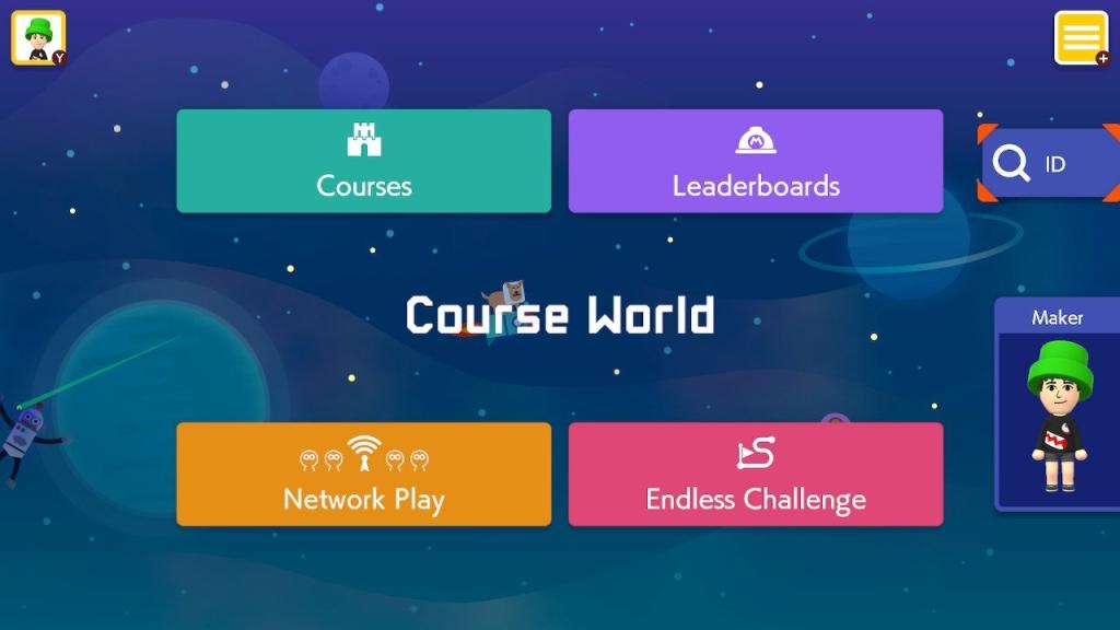 Captura de tela do modo Course World, com a lista de opções disponíveis em Super Mario Maker 2.