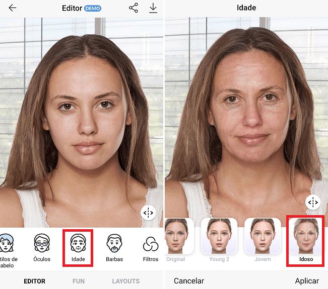 Usando o aplicativo para aplicar o filtro da velhice