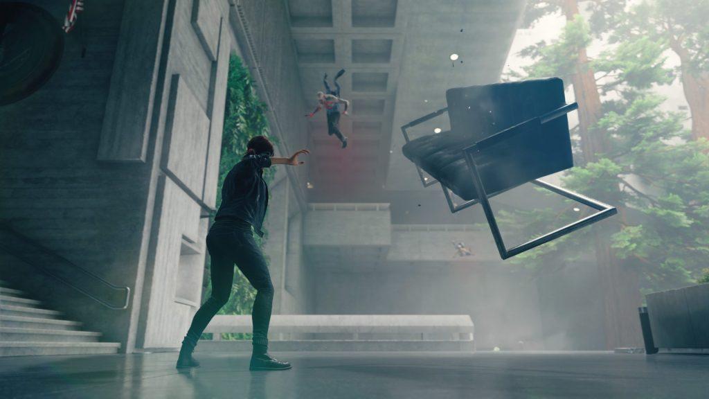 Foto mostra a protagonista do game, Jesse, usando seus poderes telepáticos para levitar objetos e atacar inimigos.