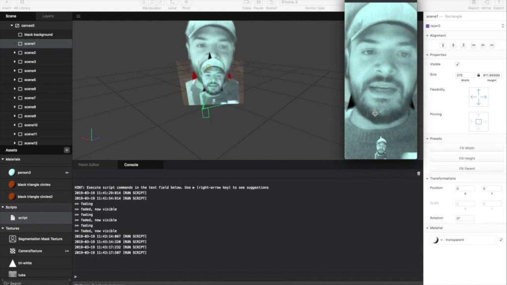 Interface do Spark AR Studio para criar os filtros