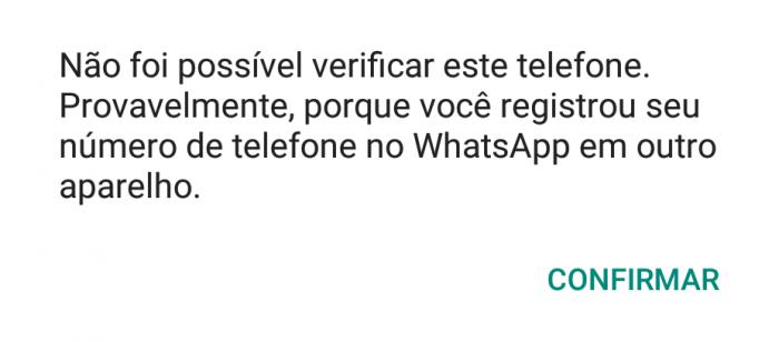 O próprio WhatsApp envia a mensagem de que o aplicativo foi clonado
